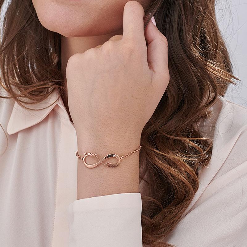 Pulsera Infinito con nombre y diamante chapada en oro rosa - 2