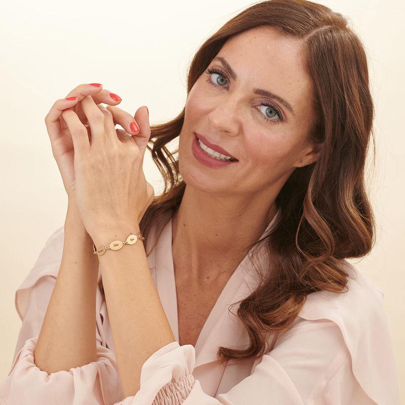 Pulsera para Mamá chapada en oro rosa con nombre de hijos - Diseño ovalado - 5