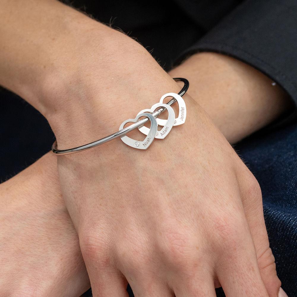 Brazalete con colgantes de corazón en plata con diamantes - 3