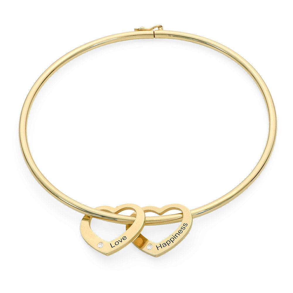Brazalete con colgantes de corazón en chapa de oro 18k con diamantes - 1