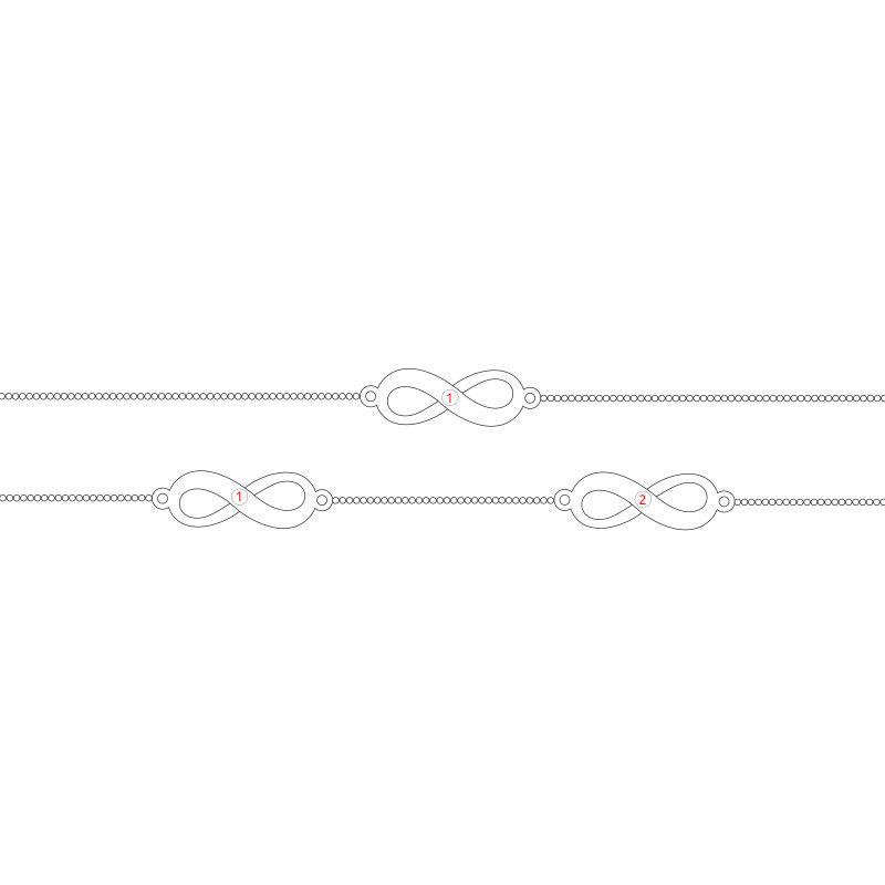 Tobillera Múltiples Infinitos en Plata - 2