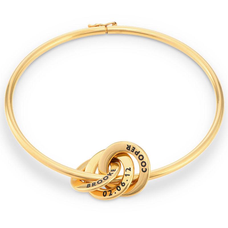 Pulsera rígida con anillo ruso en oro Vermeil