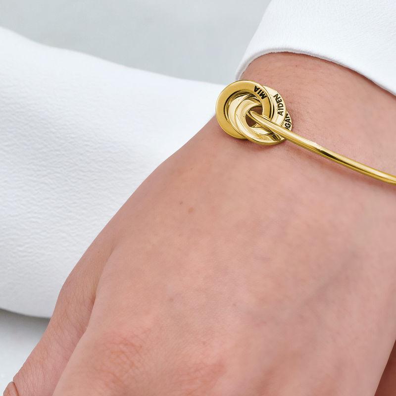 Pulsera rígida con anillo ruso en oro Vermeil - 4