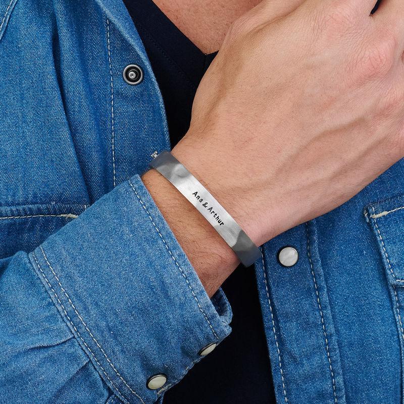 Medio brazalete en plata con cordones de cuero negro - 3