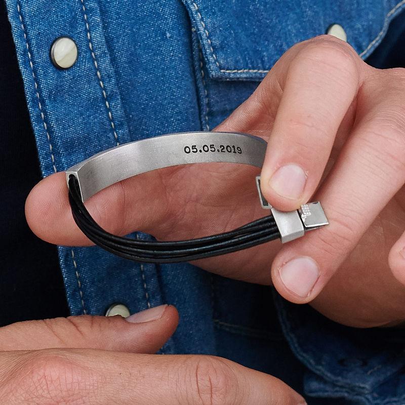 Medio brazalete en plata con cordones de cuero negro - 4