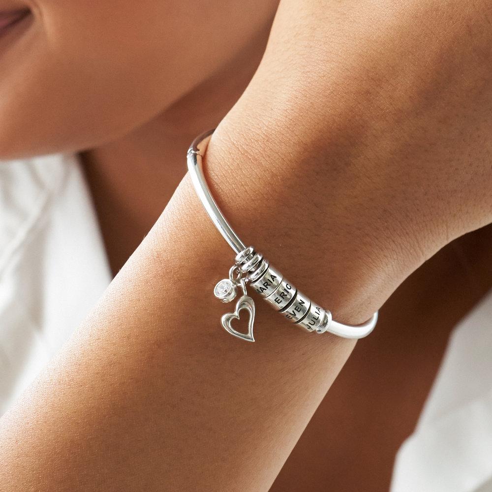 Pulsera Linda ™ Tipo Brazalete con Perlas Personalizadas en Plata del Ley - 3