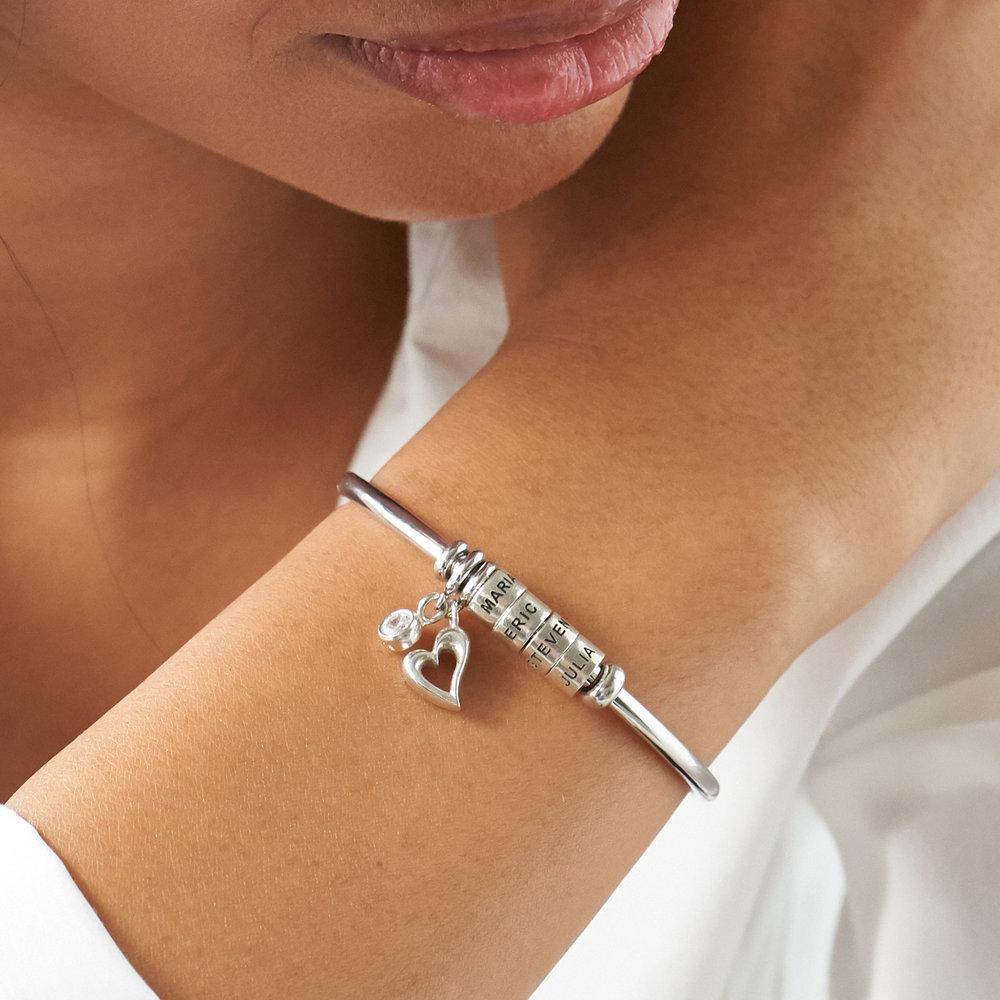 Pulsera Linda brazalete abierto con cuentas de plata & 1/10 CT. T.W Diamante - 3