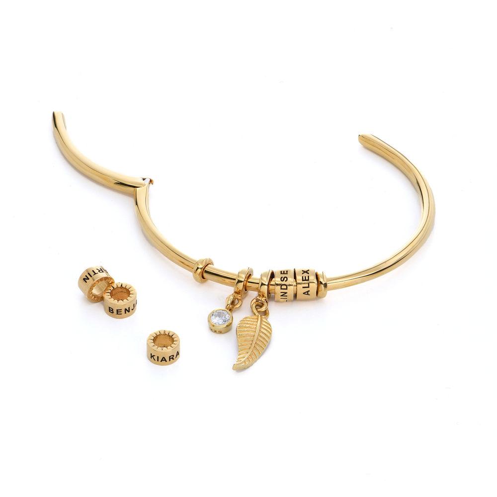 Pulsera Linda brazalete abierto con cuentas chapadas en oro & Diamante de Laboratorio 1/10 CT - 1