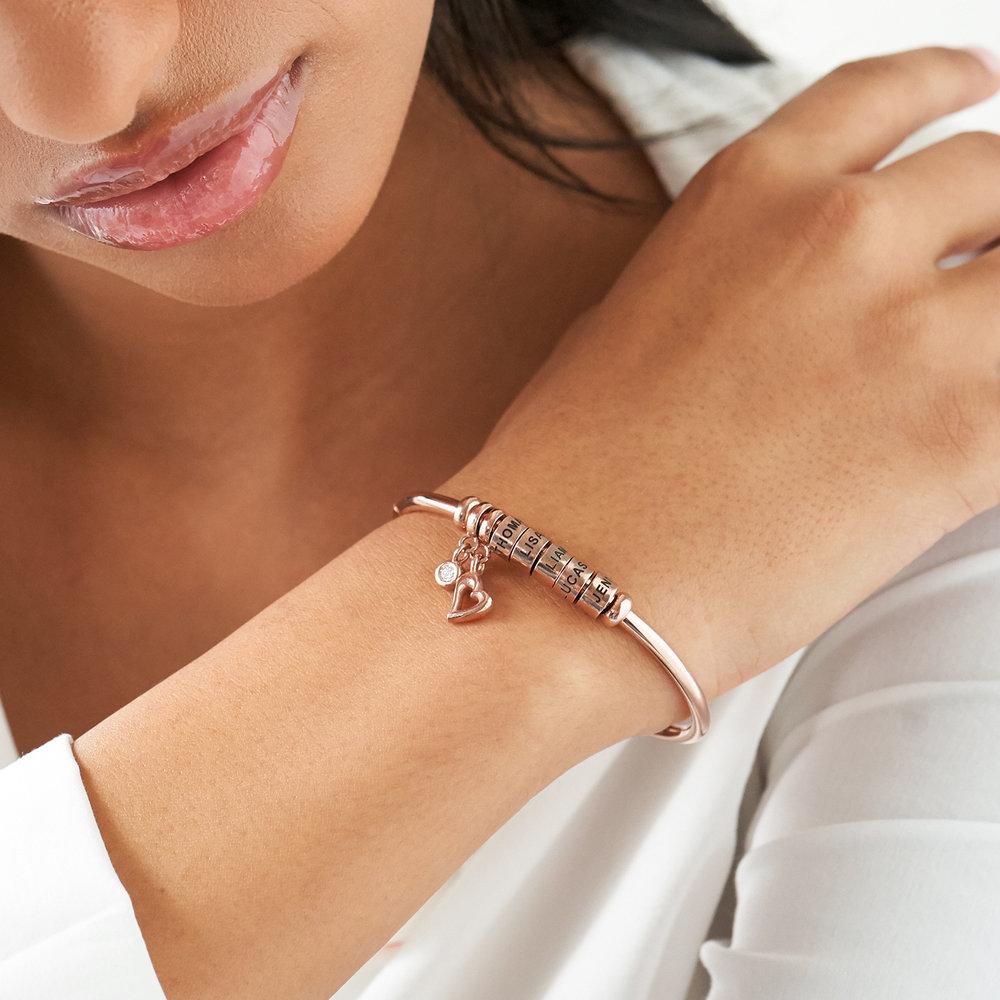 Pulsera Linda con cuentas chapadas en oro rosa & 1/10 CT. T.W diamante de laboratorio - 3