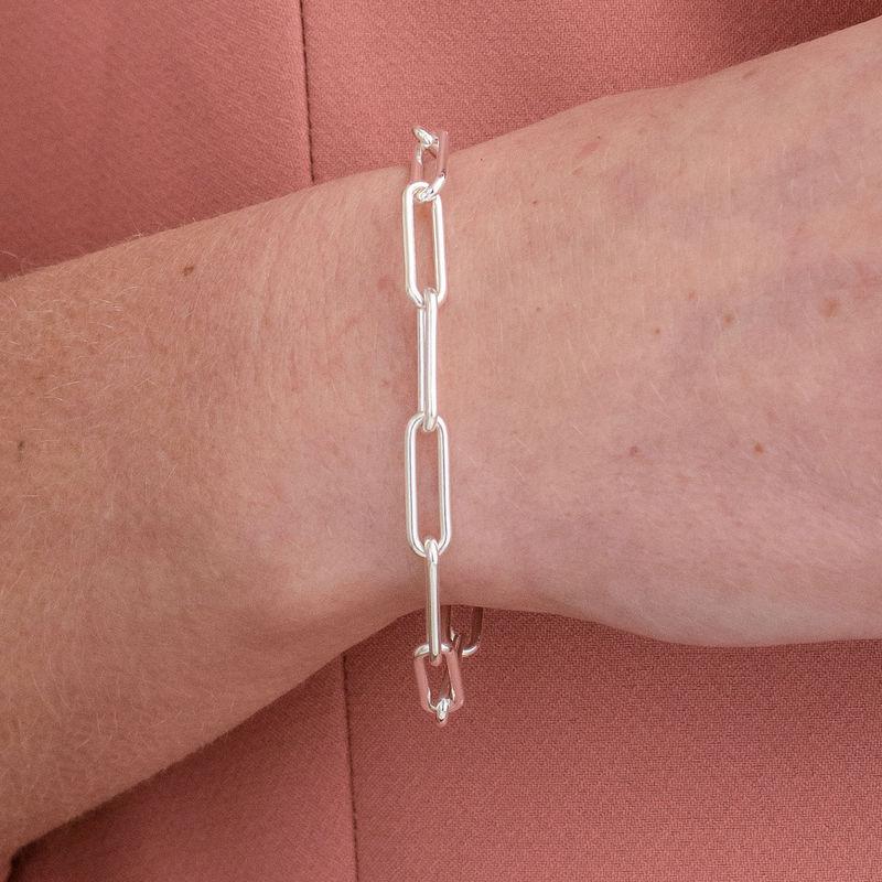 Pulsera de eslabones de cadena en plata de ley - 2
