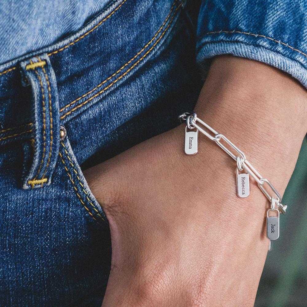 Pulsera de eslabones de cadena con encantos personalizados en plata - 2