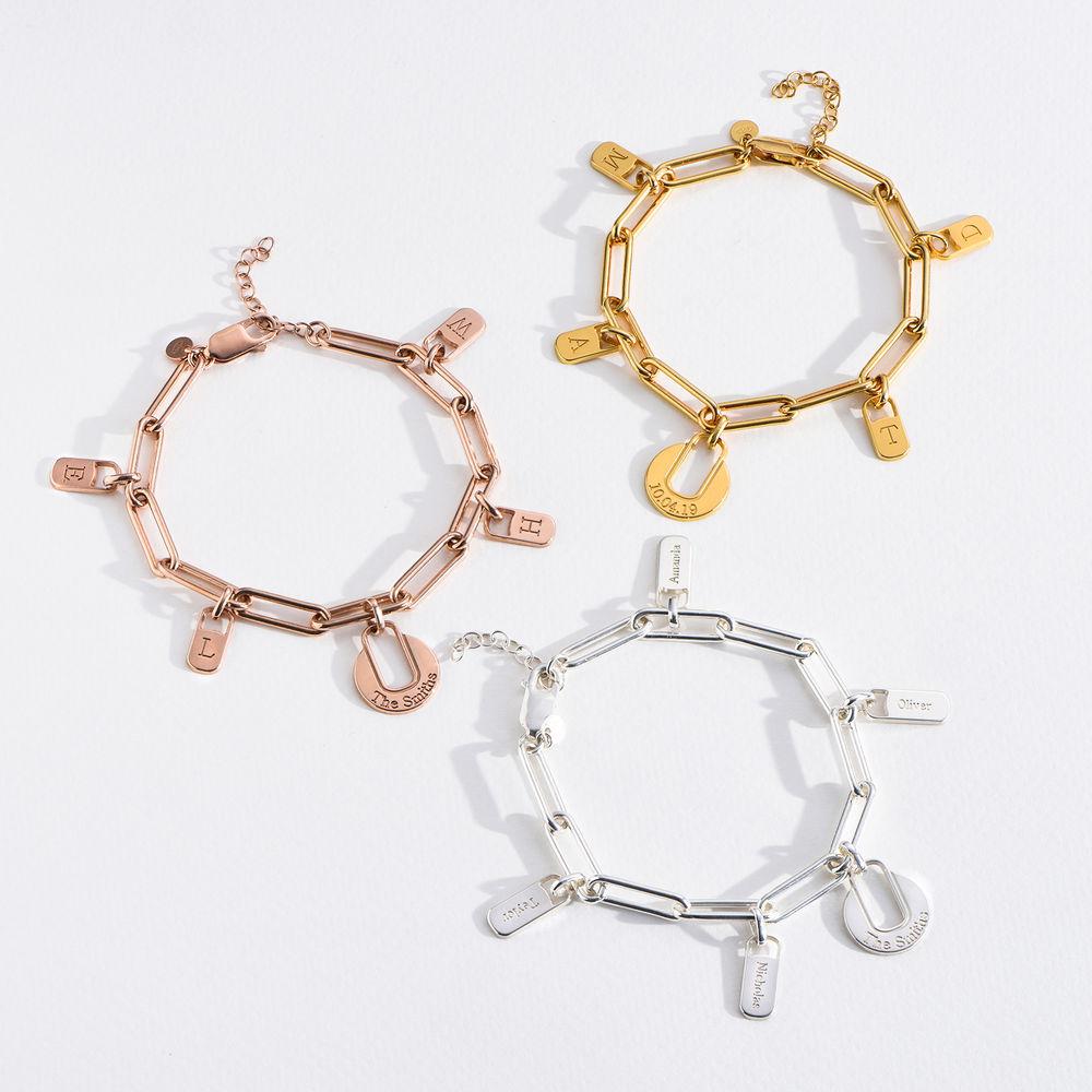 Pulsera de eslabones de cadena con encantos personalizados en plata - 4