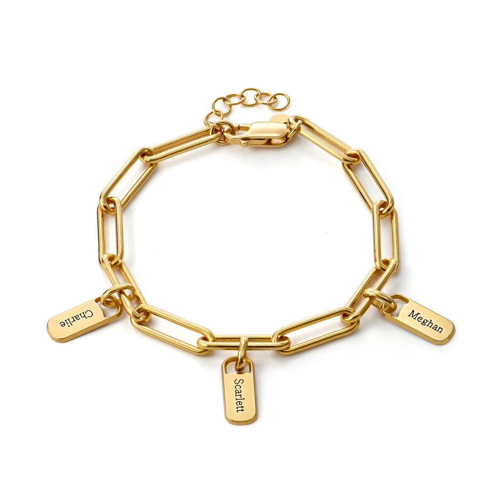 Pulsera de eslabones de cadena con encantos personalizados en oro 18k