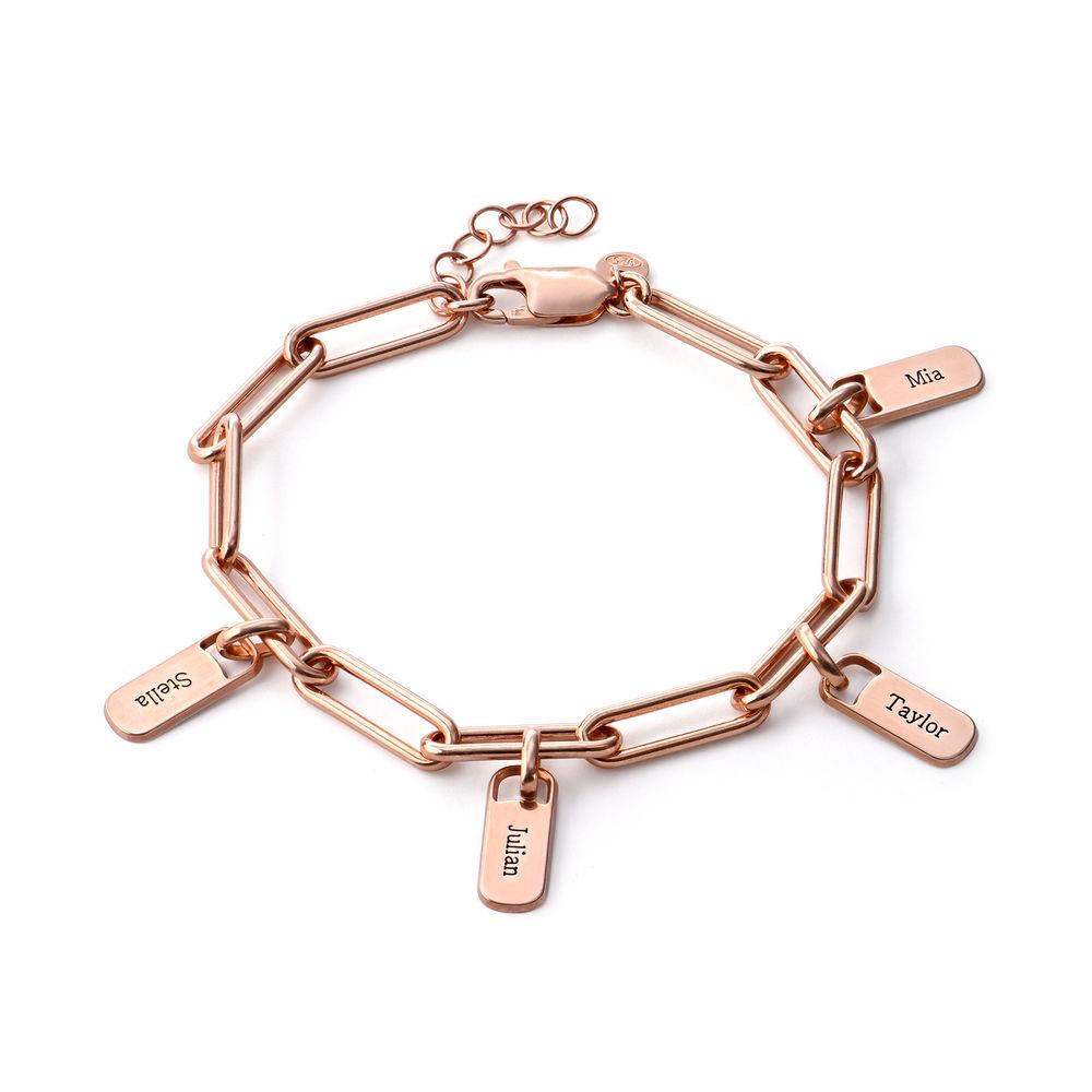 Pulsera de eslabón de cadena con encantos personalizados chapada de oro rosa 18k