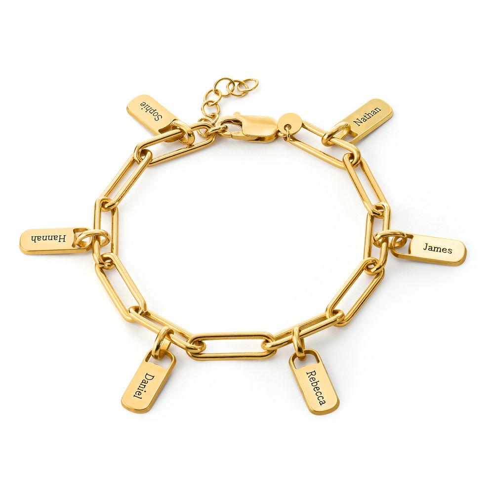 Pulsera de eslabón de cadena con encantos personalizados chapada de oro vermeil18k