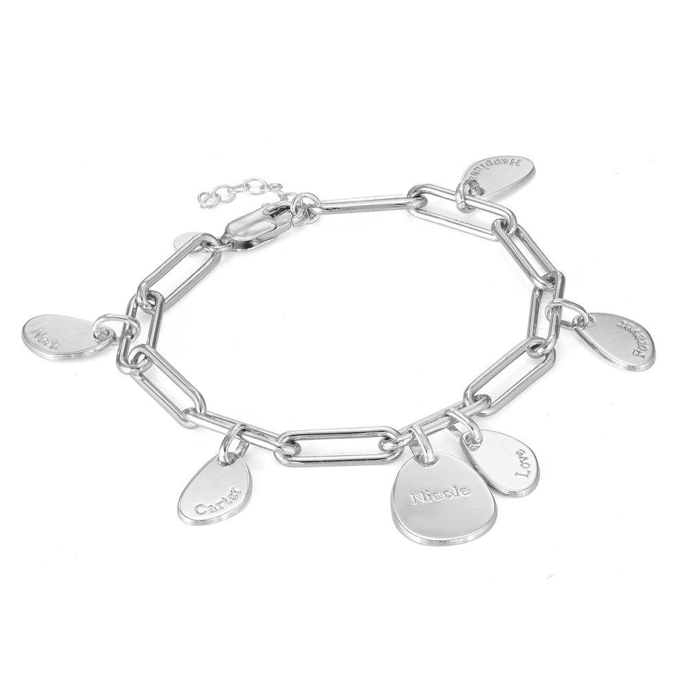 Pulsera de eslabón de cadena con encantos personalizados en plata