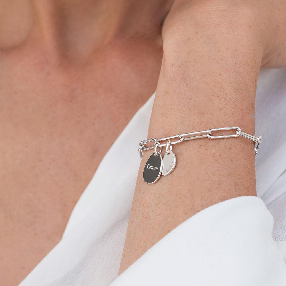 Pulsera de eslabón de cadena con encantos personalizados en plata - 2