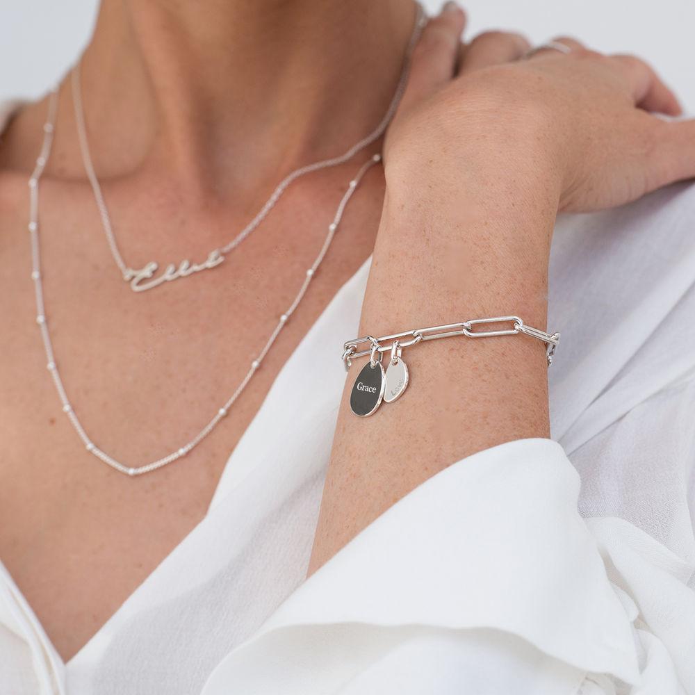 Pulsera de eslabón de cadena con encantos personalizados en plata - 3