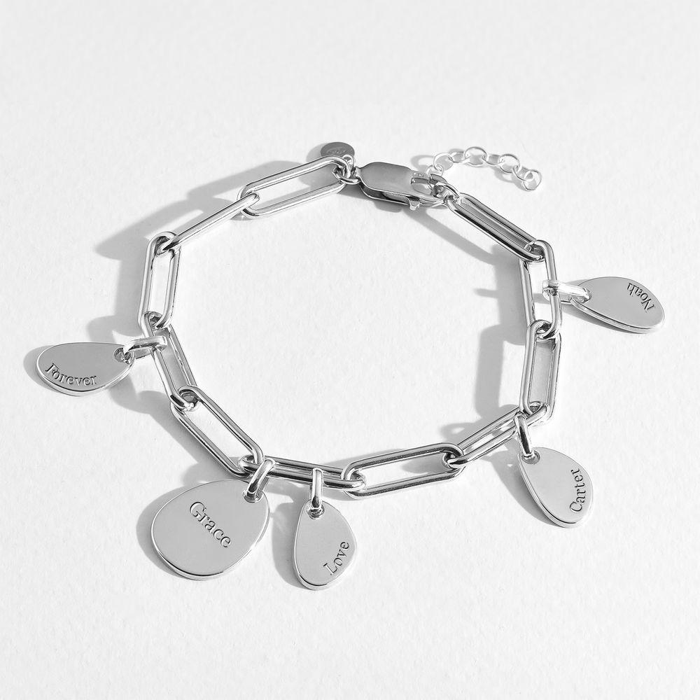 Pulsera de eslabón de cadena con encantos personalizados en plata - 4