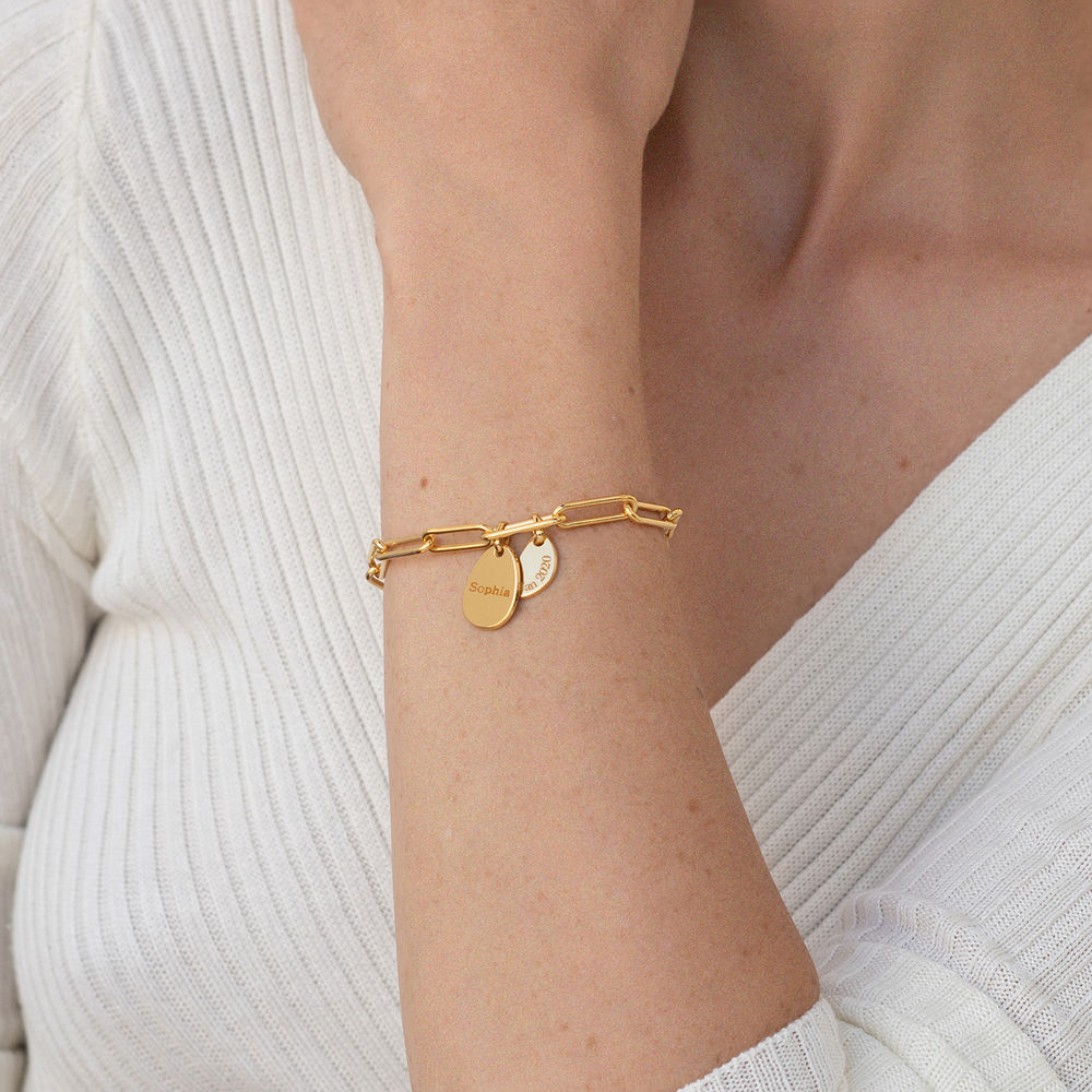 Pulsera Christina™ de Eslabones de Cadena con Dijes Personalizados en Oro Vermeil - 2
