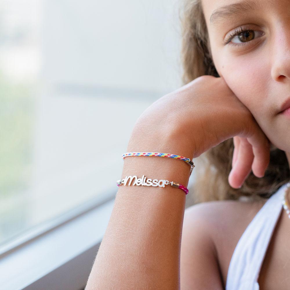 Pulsera de cordón con nombre para niñas en plata de ley - 3