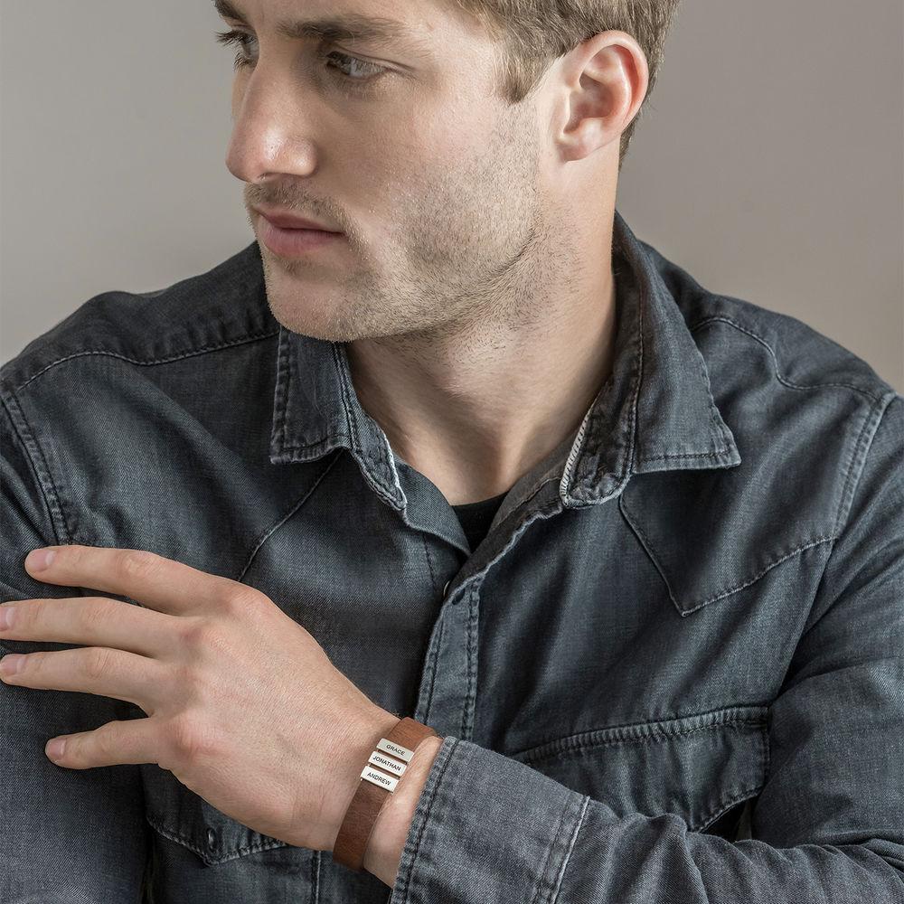 Pulsera de cuero marrón para hombre con cuentas de plata personalizadas - 3