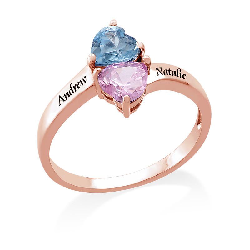 Anillo Personalizado con Piedras de Nacimiento en forma de corazón Chapado en Oro Rosa - 1