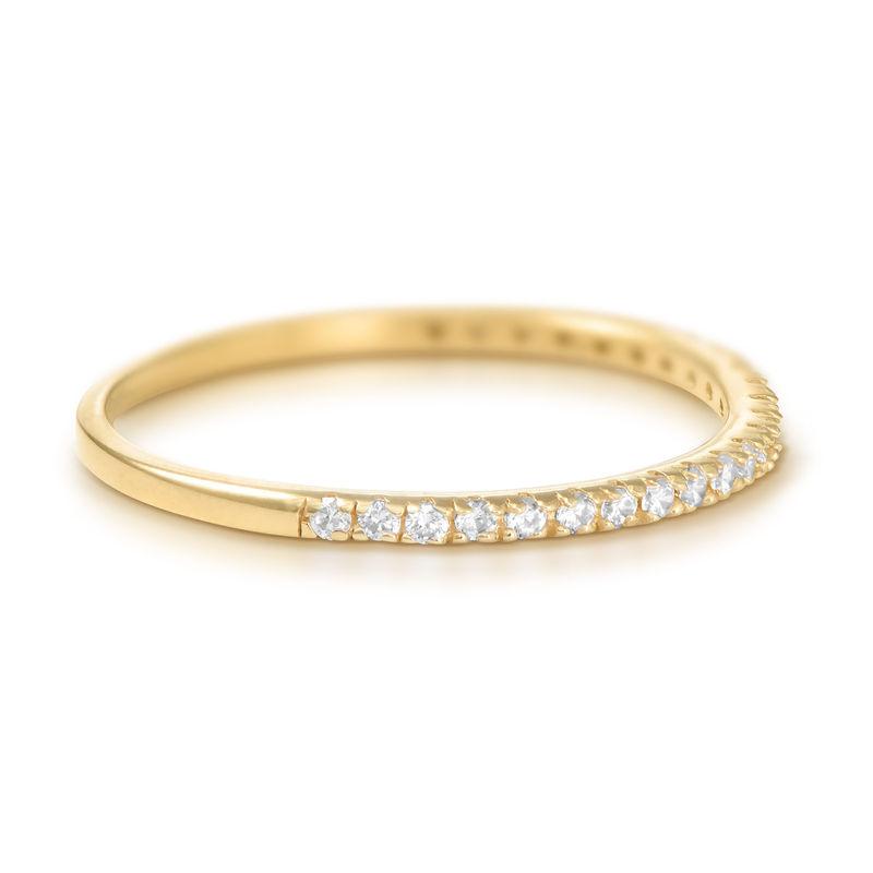Delicado anillo con circonia cúbica chapado en oro - 1