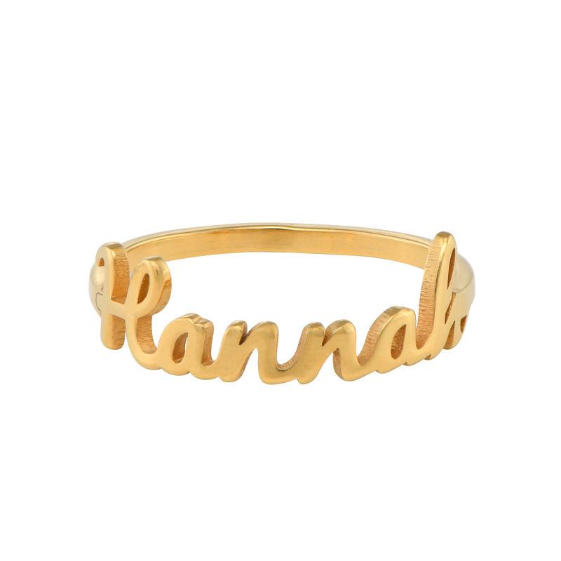 Anillo con nombre en cursiva chapado en oro - 1
