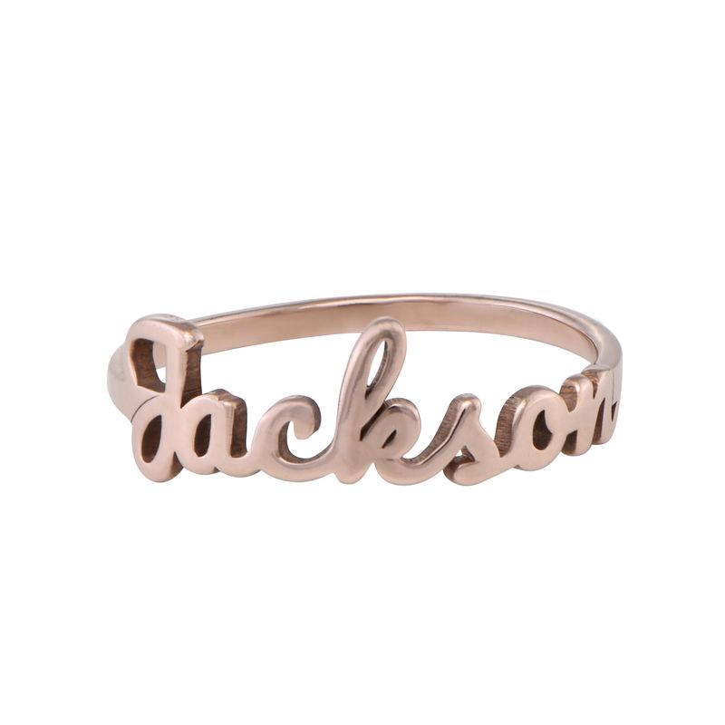 Anillo con nombre en cursiva chapado en oro rosa - 1