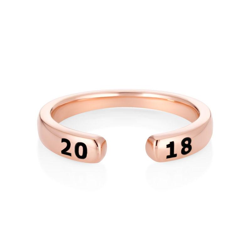 Anillo abierto personalizado apilable chapado en oro rosa - 1