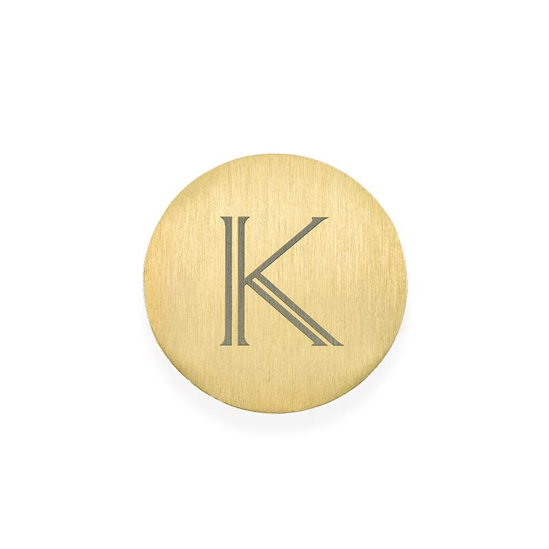 Placa para Medallón Flotante – Disco Chapado en Oro con Inicial