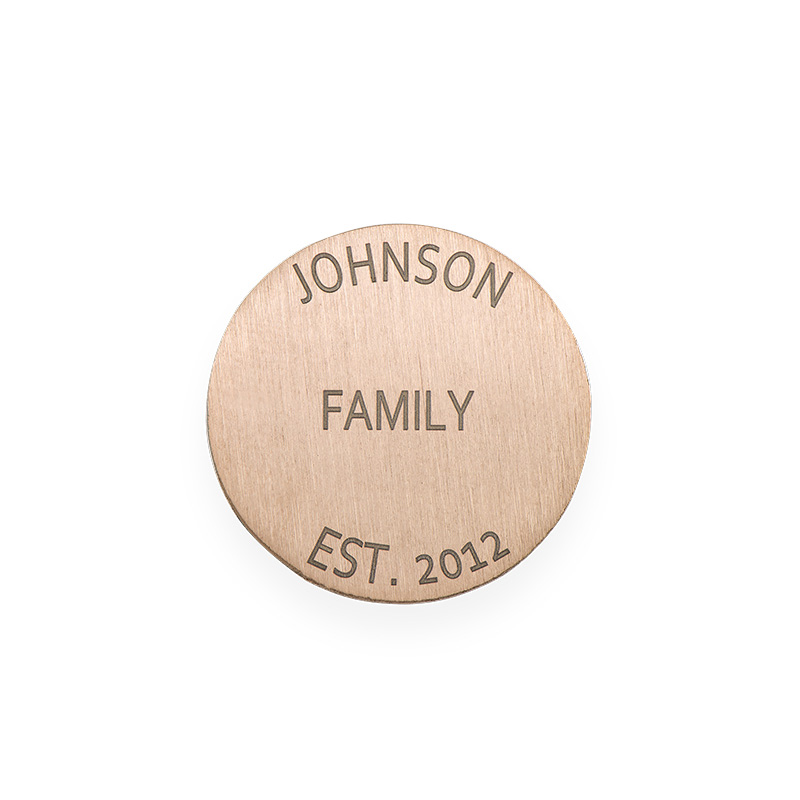 Placa para Medallón Flotante – Disco Grabado Chapado en Oro Rosa