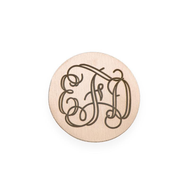 Placa para Medallón Flotante – Disco Monograma Chapado en Oro Rosa