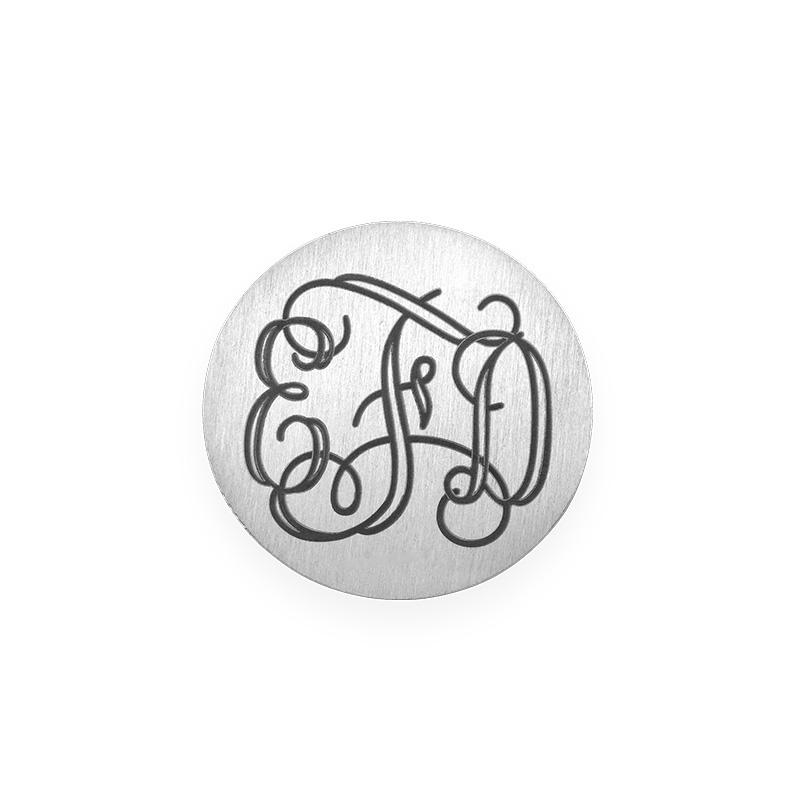 Placa para Medallón Flotante – Disco Monograma Chapado en Plata