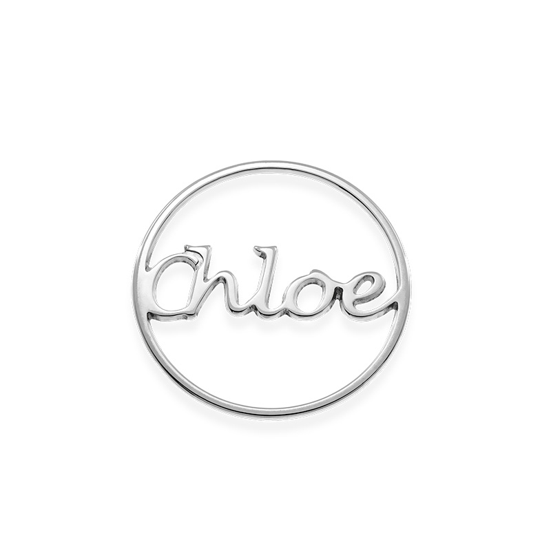 Placa para Medallón Flotante – Disco con Nombre en Plata