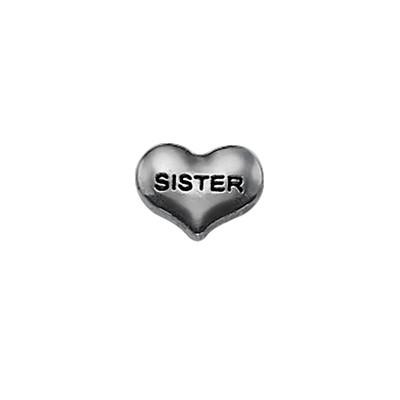 Encanto Corazón Hermana para Medallón Flotante