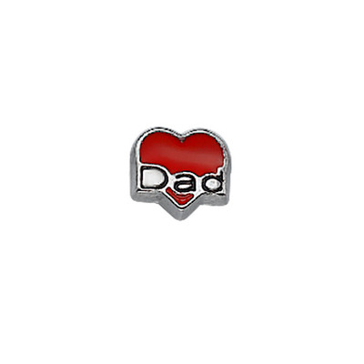 Encanto Corazón Rojo Papá para Medallón Flotante