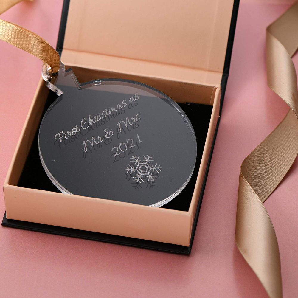 Ornamento personalizado para fiestas con copo de nieve