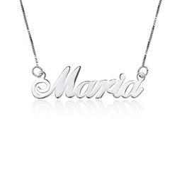 Collar con Nombre Fuente Clásica en Oro Blanco 14k foto de producto