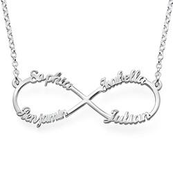 Collar Infinito de 4 Nombres en Plata product photo