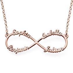 Collar Infinito de 4 nombres en Chapado de Oro Rosa product photo