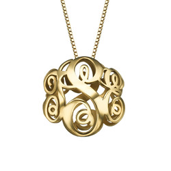 Collar Monograma 3D en Chapa de Oro product photo