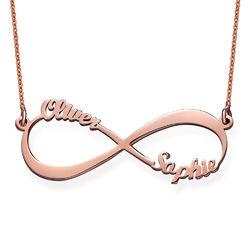 Collar Infinito con Nombres de Parejas en Chapa de Oro Rosa product photo