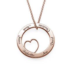 Collar Círculo del amor de la Familia en Chapa de Oro Rosa foto de producto
