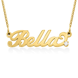 Pequeño Collar con Nombre en plata chapada en oro de 18k con diamantes foto de producto