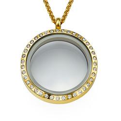 Medallón Redondo Chapado en Oro con Cristales foto de producto
