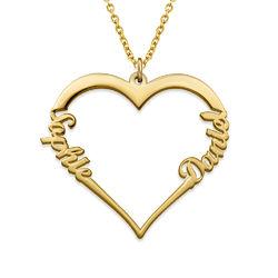 Collar de Corazón con Inscripción Personalizada Chapado en Oro de 18k foto de producto