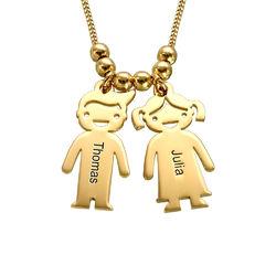 Colgante de niño y niña personalizado en oro Vermeil product photo