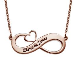 Collar Infinito con Nombres y Corazón Calado - Chapa de Oro Rosa product photo